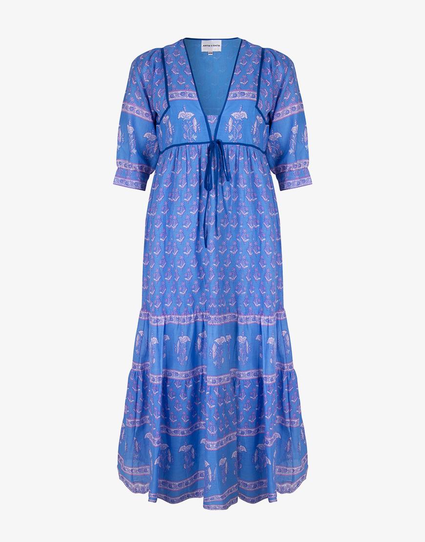 Antik Batik Mori jurk blauw