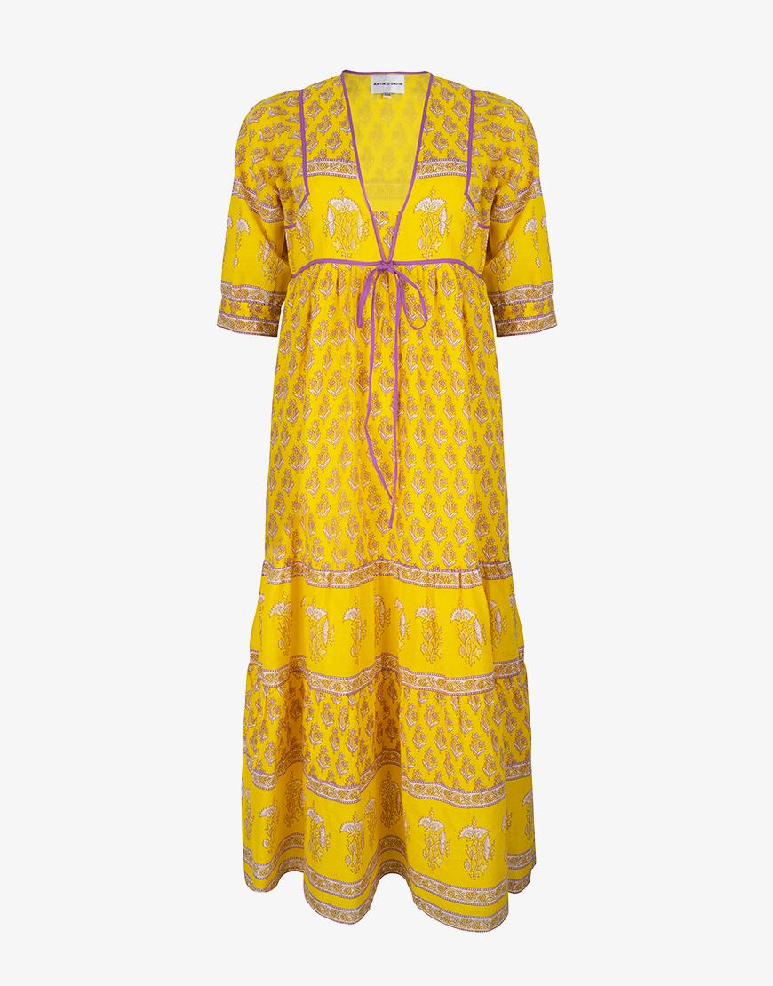 Antik Batik Mori jurk geel
