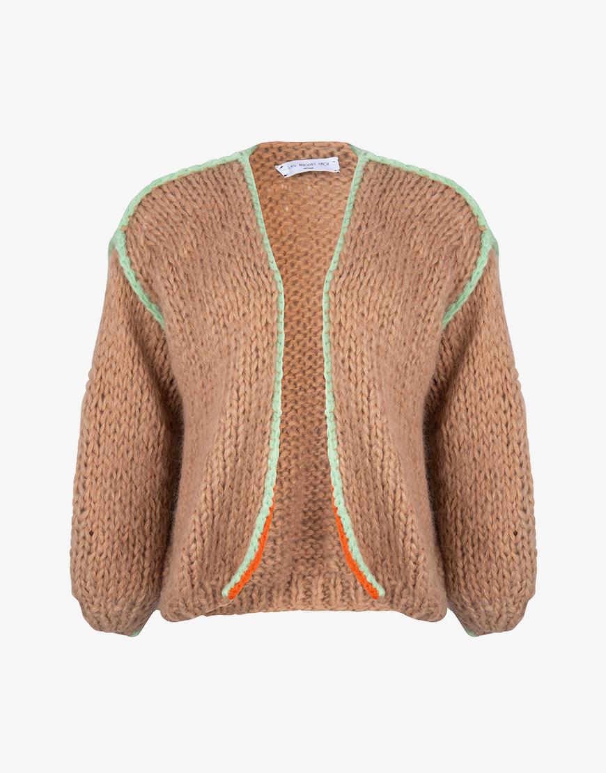 Les Tricots d'O gebreid vest camel-mint-oranje